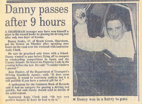 Danny passing having just 9 hours of lessons